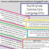 4th Grade Multi-Colored Chevron Common Core Objectives Combo Pack
