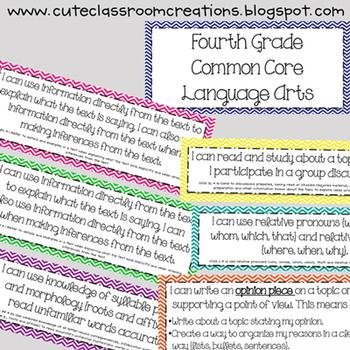4th Grade Multi-Colored Chevron Language Arts Common Core Objectives