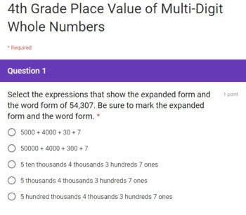 4th Grade Multi-Digit Numbers Google Form Assessment (3 Quick Checks)