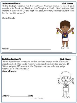 4th-5th Grade Multi-Step Black History Math Word Problems