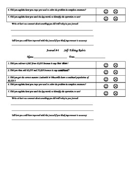4th Grade Multi-Step Word Problem Math Journal with self-assessment rubric