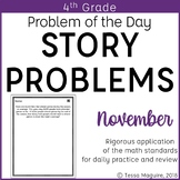4th Grade Multi-Step Word Problem of the Day Story Problems- November