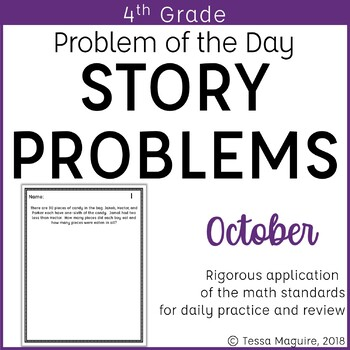 4th Grade Multi Step Word Problem Of The Day Story Problems October