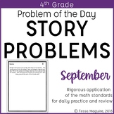4th Grade Multi-Step Word Problem of the Day Story Problems- September