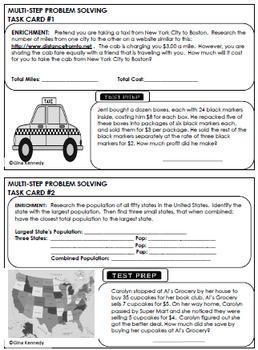 4th Grade Multi-step Math Problem Solving, 30 Enrichment Projects & 30 Problems