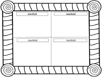 4th Grade: Multiplication Area Model Template (extra practice/can color after)