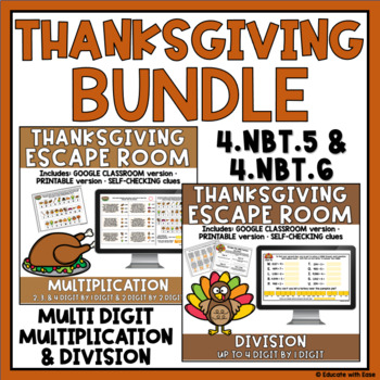 4th Grade Multiplication & Division THANKSGIVING ESCAPE ROOM BUNDLE