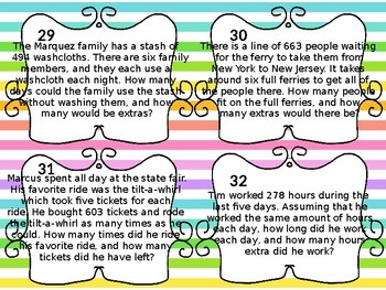 4th Grade Multiplication/Division Word Problem Task Cards