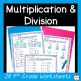 4th Grade Multiplication & Division Worksheet Pack ~ Multi-Digit Numbers ~ CCSS