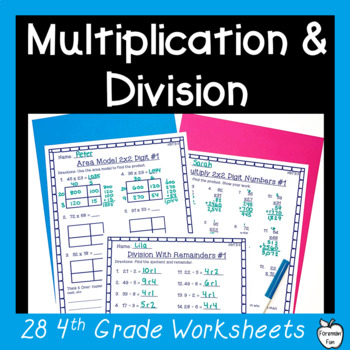 4th Grade Multiplication & Division Worksheet Pack ~ Multi-Digit ...