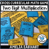 4th Grade Math Review Task Cards  Amelia Earhart Game