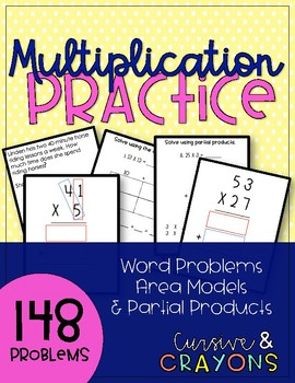 4th Grade Multiplication Practice - Word Problems, Area, and Partial Products