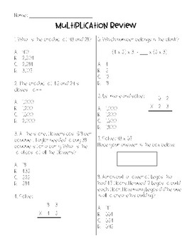 4th Grade Multiplication Review