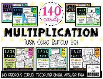 4th Grade   Multiplication Task Card Bundle (140 Task Cards)