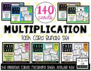Multiplication Task Card Bundle (7 Sets)