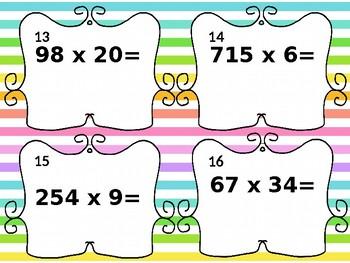 4th Grade Multiplication Task Cards