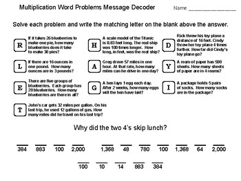 4th Grade Multiplication Word Problems Activity: Math Message Decoder