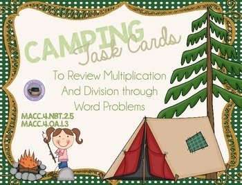 4th Grade Multiplication and Division Task Cards:  Camping Theme