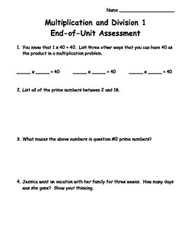 4th Grade Multiplication and Division Unit 1 Assessment