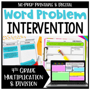 4th Grade Multiplication and Division Word Problems {No Prep Intervention}