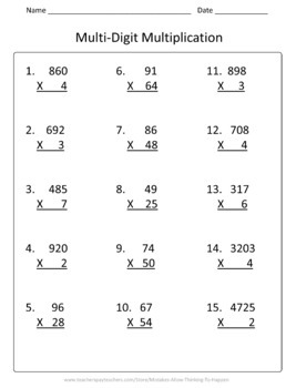 4th Grade Multiplication and Division Worksheet Practice ...