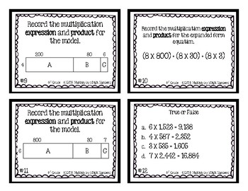 4th Grade Task Cards | Multiply 1 Digit Numbers 4.NBT.5