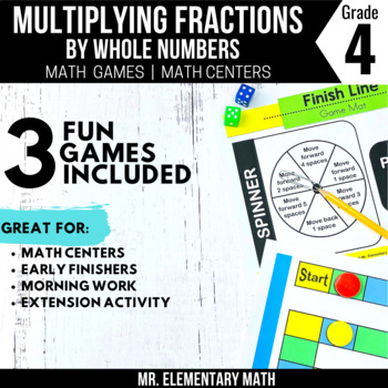 4th Grade Multiplying Fractions and Whole Numbers Games and Centers