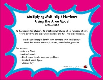 4th Grade Multiplying Multi-digit Numbers Using the Area M