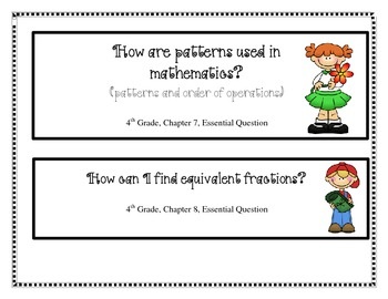 4th Grade My Math Essential Questions
