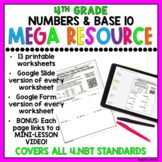 4th Grade Numbers & Base 10 Review Worksheets & Google Slides DISTANCE LEARNING