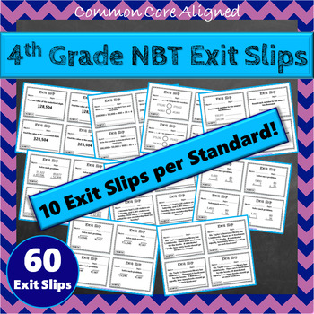 4th Grade NBT Exit Slips: Number & Operations in Base Ten