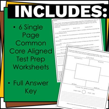 4th Grade NBT Math Assessment and Performance Tasks w/ Answer Keys for Test Prep