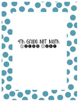 4th Grade NBT Math Vocab Sort