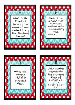 4th Grade NBT Task Cards - Aligned with FSA