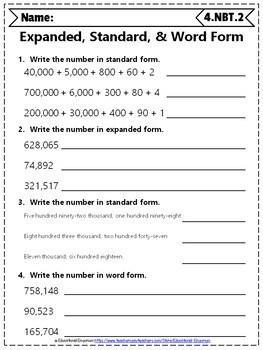 4th Grade NBT Worksheets: 4th Grade Math Worksheets, Numbers in Base Ten