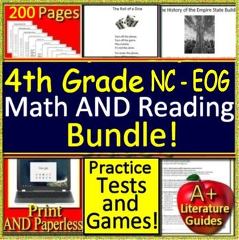 4th Grade NC EOG Reading and Math Bundle! North Carolina End-of-Grade Assessment