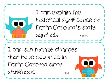 "4th Grade NC Science and Social Studies ""I Can"" Statements - OWL THEME"