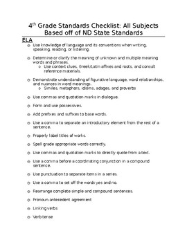 4th Grade ND State Standards Checklist All Subjects