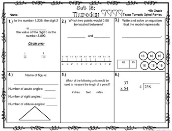 4th Grade NEW TEKS TX Tornado Spiral Review Pt 3-Set 13 Freebie! Be STAAR Ready