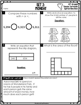 4th Grade NEW TEKS Texas Tornado Spiral Review  Pt 1 (Sets 1-6) Be STAAR Ready