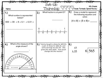 4th Grade NEW TEKS Texas Tornado Spiral Review  Pt 5 (Sets 25-30) Be STAAR Ready