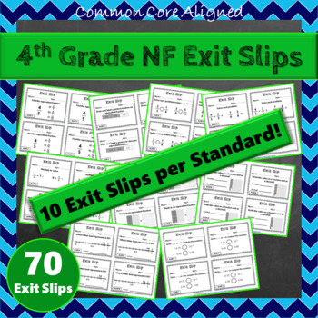 4th Grade Fraction Exit Slips: Fractions Exit Tickets, 4th Grade NF Exit Slips