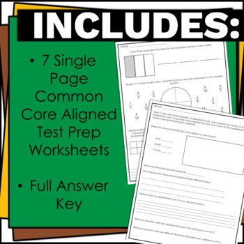 4th Grade NF Math Assessment and Performance Tasks w/ Answer Keys for Test Prep