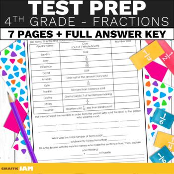 4th Grade Math Test Prep Fraction Standards