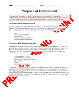4th Grade NGSS Assessment(s): Purpose & Levels of Government