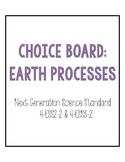 4th Grade NGSS Earth Processes Choice Board