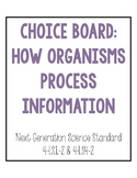 4th Grade NGSS How Organisms Process Information Choice Board