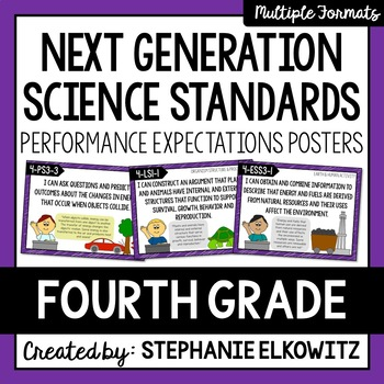 """4th Grade NGSS Posters with """"I Can"""" Statements and Core Ideas"""