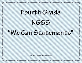"""4th Grade NGSS """"We Can Statements"""""""