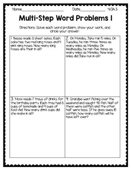 4th Grade  NO PREP PRINTABLES (Operations & Algebraic Thinking)